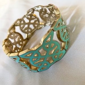 None Jewelry - Turquoise and Gold Plated Fashion Bracelet